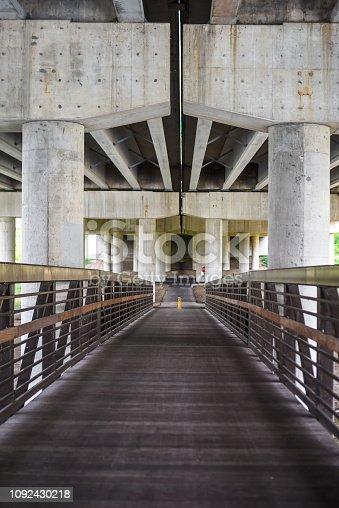 bike path bridge under highway in Elgin, Illinois near Chicago