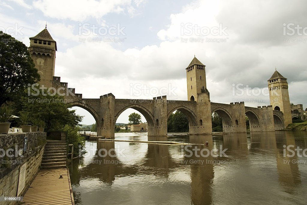 Bridge Valetre in Cahors town, France (3) stock photo