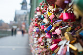 Bridge View Cologne where people express their love padlocks hanging on the fences of protection.