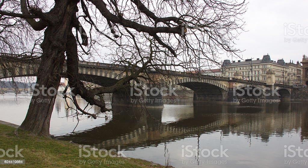 Bridge view from Kampa island, Prague, stock photo