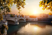 Bridge Vittorio Emanuele II in Rome at autumn sunrise