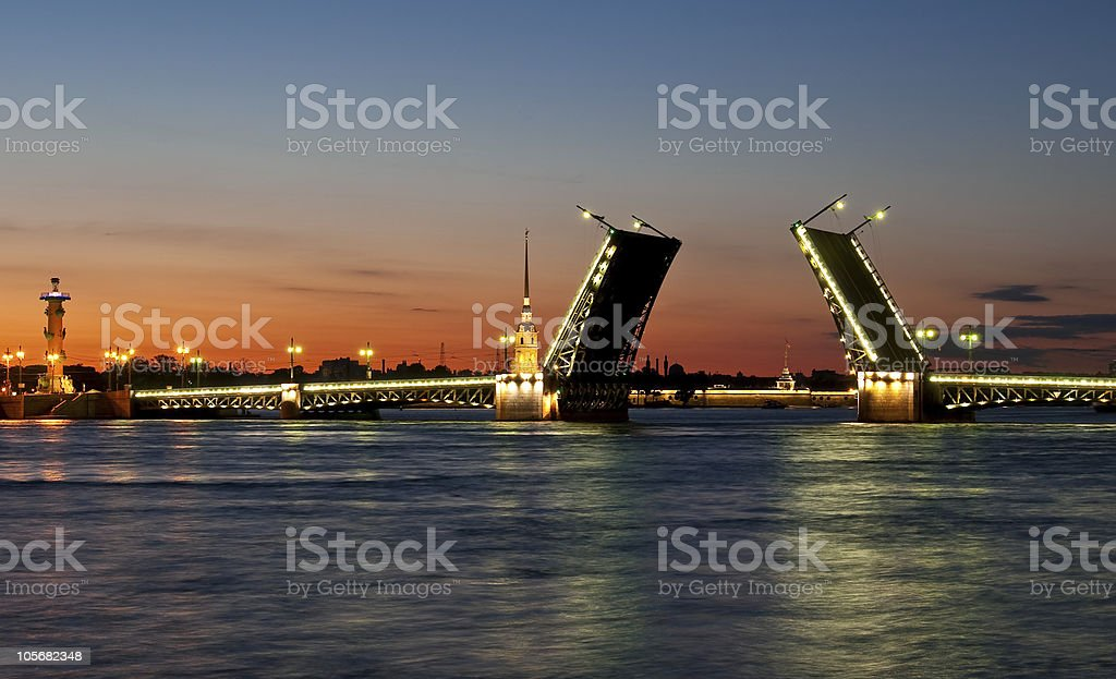Bridge wide open and closed to traffic stock photo