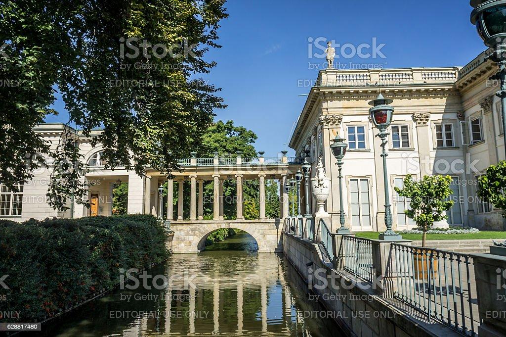 Bridge with a colonnade, Lazienki Park in Warsaw, Poland. stock photo
