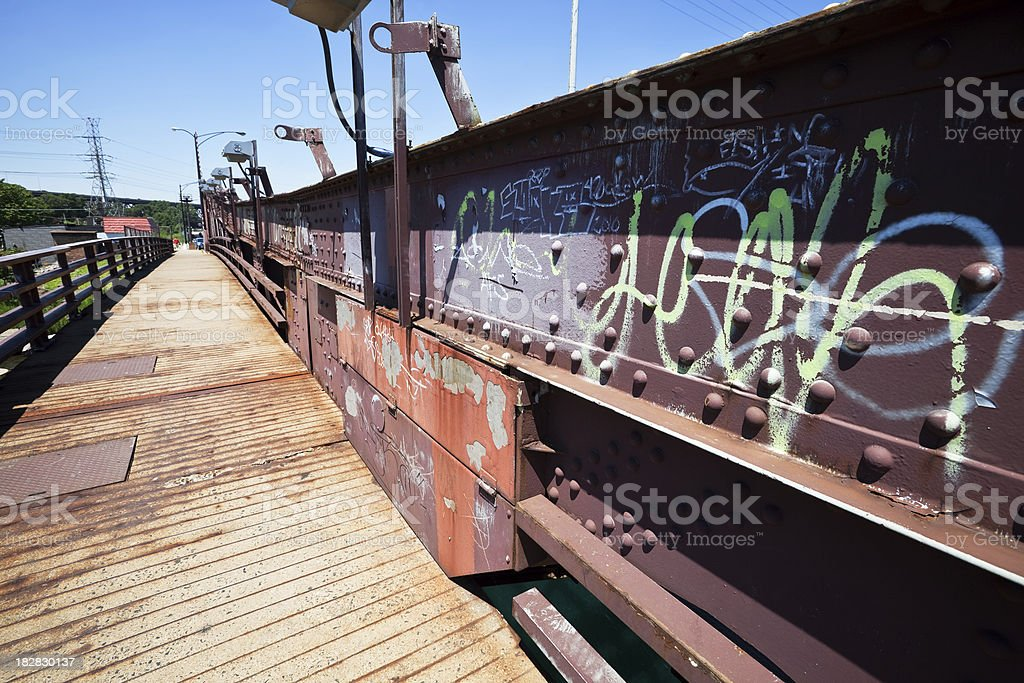 Bridge with Grafitti in South Deering, Chicago royalty-free stock photo