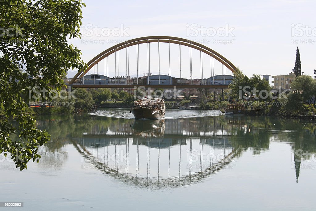 Bridge with houses royalty-free stock photo