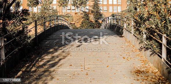 Lonely wooden bridge with loss of horizon between trees and with dry leaves