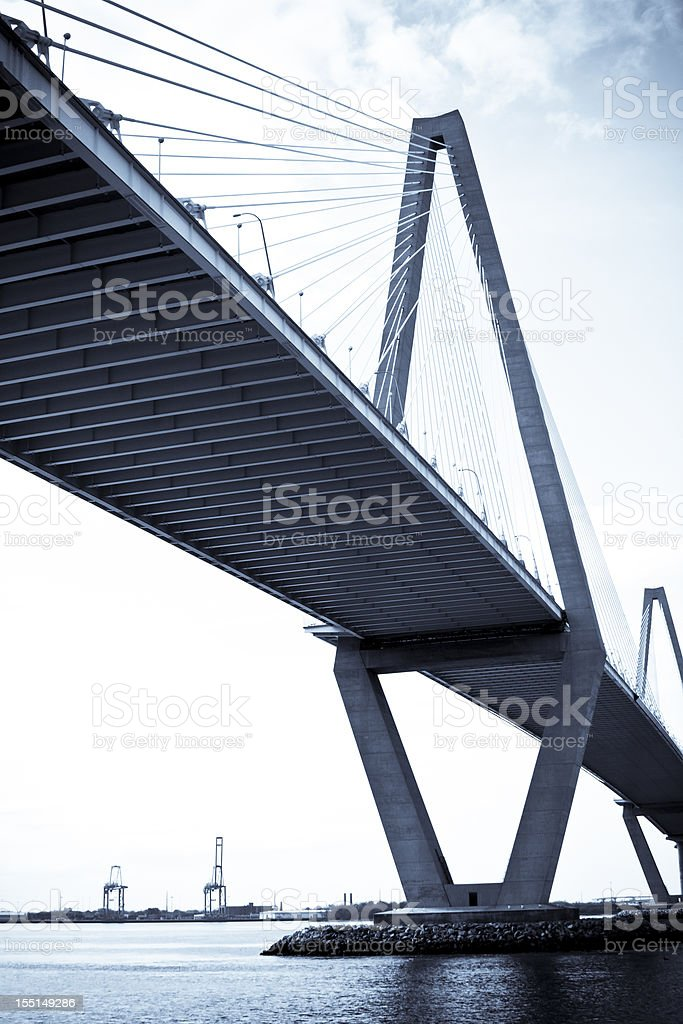 Bridge with seaport cranes in background royalty-free stock photo