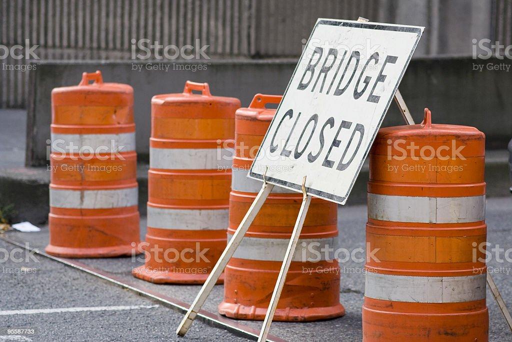 Bridged closed sign stock photo
