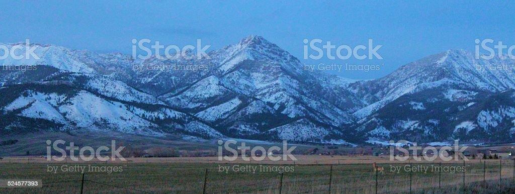Bridger Mountain Sunset closeup stock photo