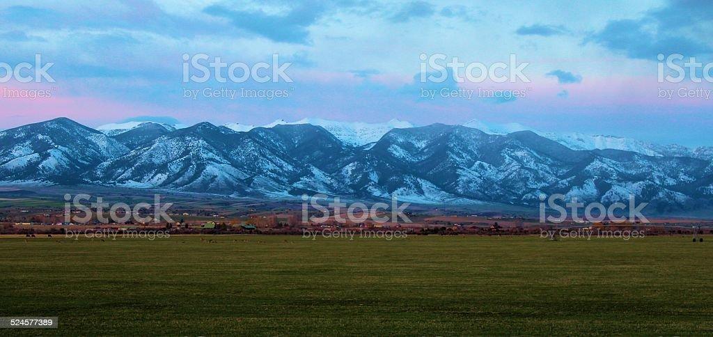 Bridger Mountain Sunset stock photo