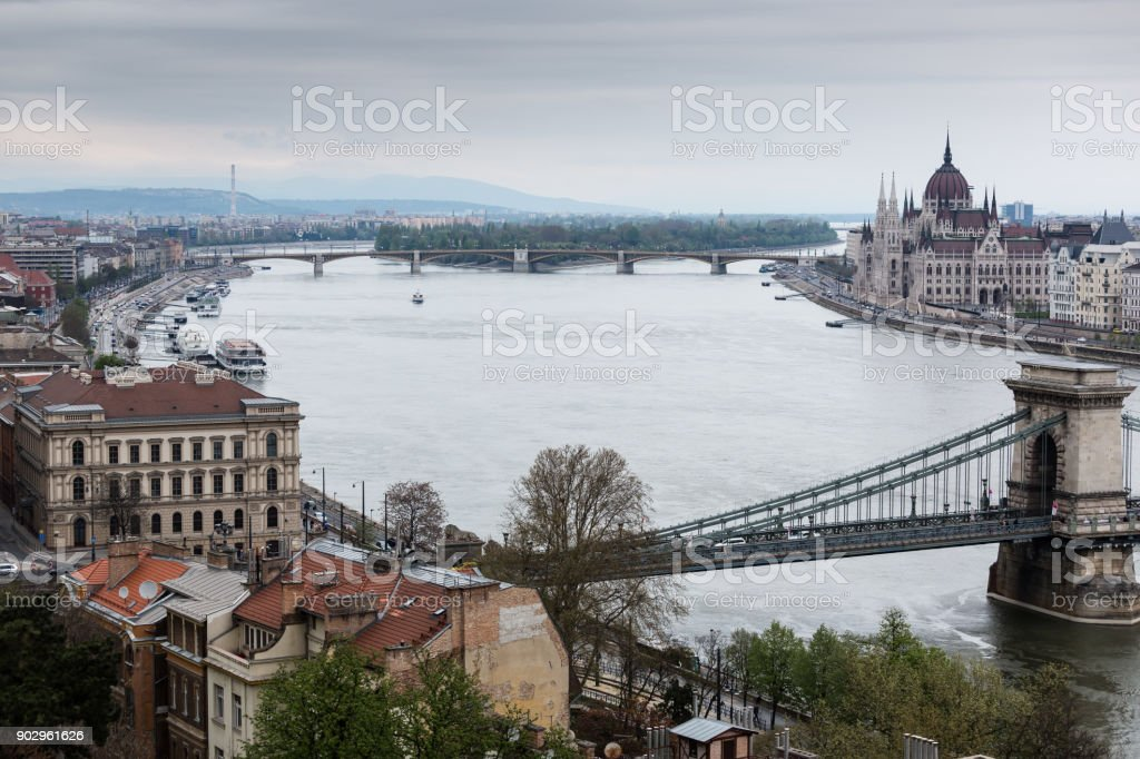 Bridges across the Danube stock photo