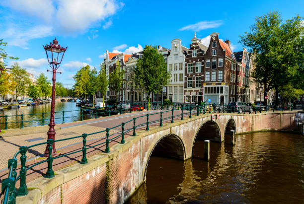 Bridges and Canal Side Houses of Amsterdam, Netherlands stock photo