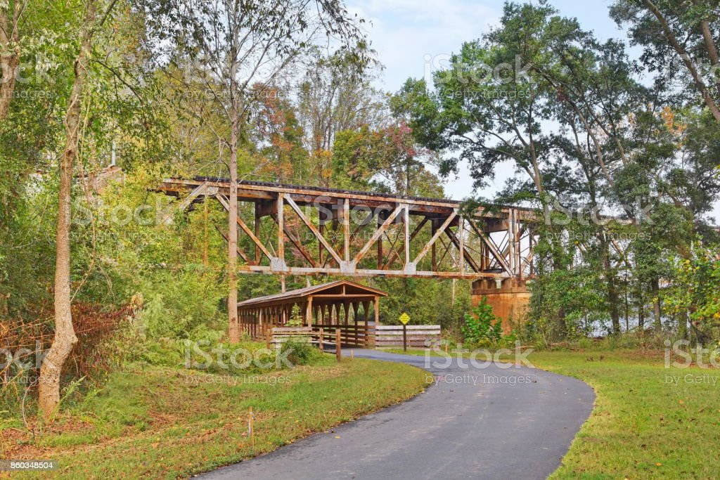 Bridges and Trails for autumn hikes. stock photo
