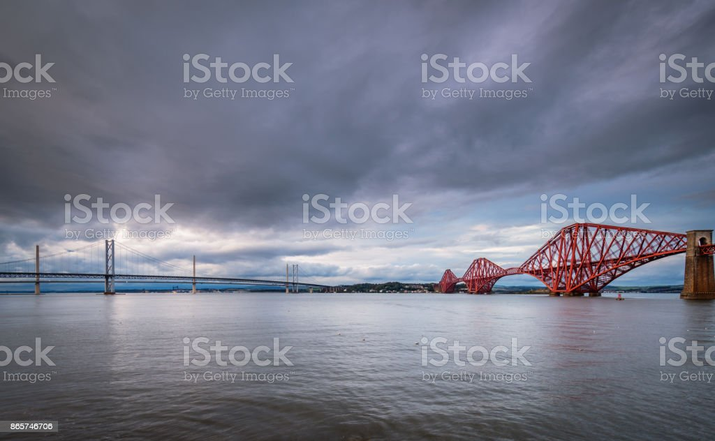 Bridges Converge on North Queensferry stock photo
