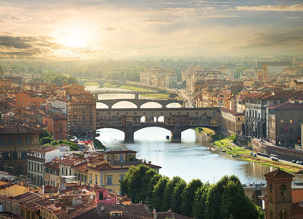 Bridges of Florence View on the bridges of Florence at sunrise florence italy stock pictures, royalty-free photos & images