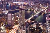 Bridges of New York at night aerial