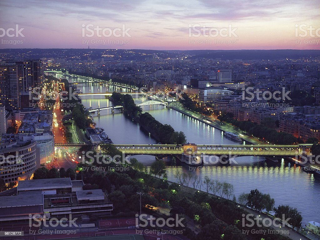 Bridges of Paris on a sunset royalty-free stock photo