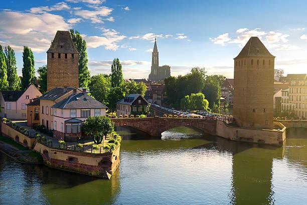 bridges of strasbourg - rhein stock-fotos und bilder