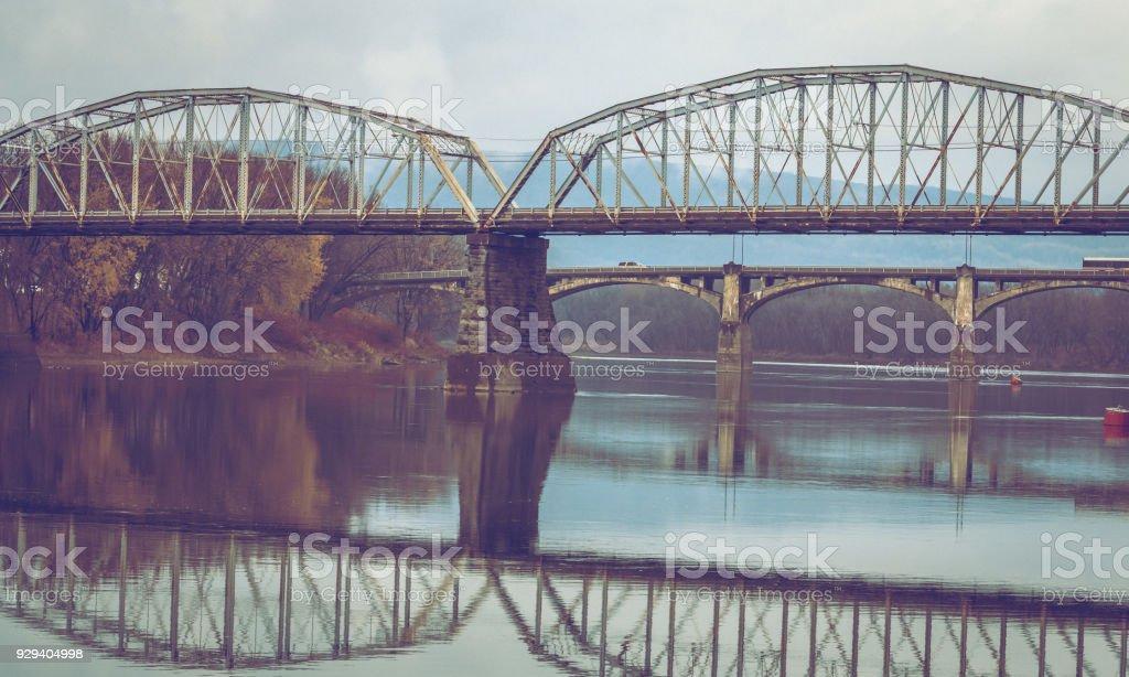 Bridges Over a River stock photo