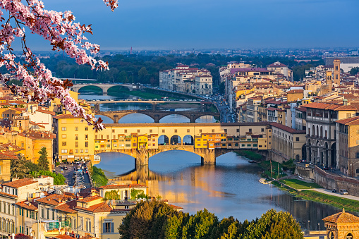 Bridges over Arno river in Florence at spring