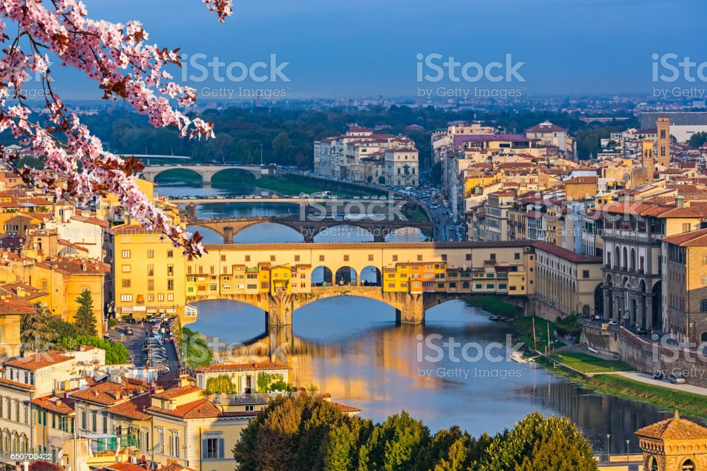 Bridges over Arno river in Florence at spring stock photo