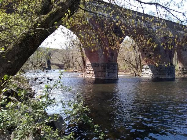 Bridges over Neshaminy Creek in Langhorne Pennsylvania stock photo