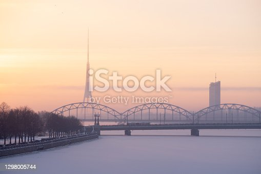 Sunrise on early winter morning. Stone and Railway bridges and the TV tower and TV building can be seen in the background.