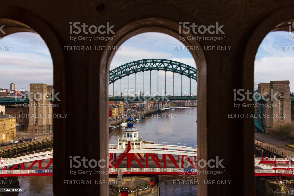 Bridges over river Tyne at Newcastle Quayside viewed from High Level Bridge on an early spring day stock photo