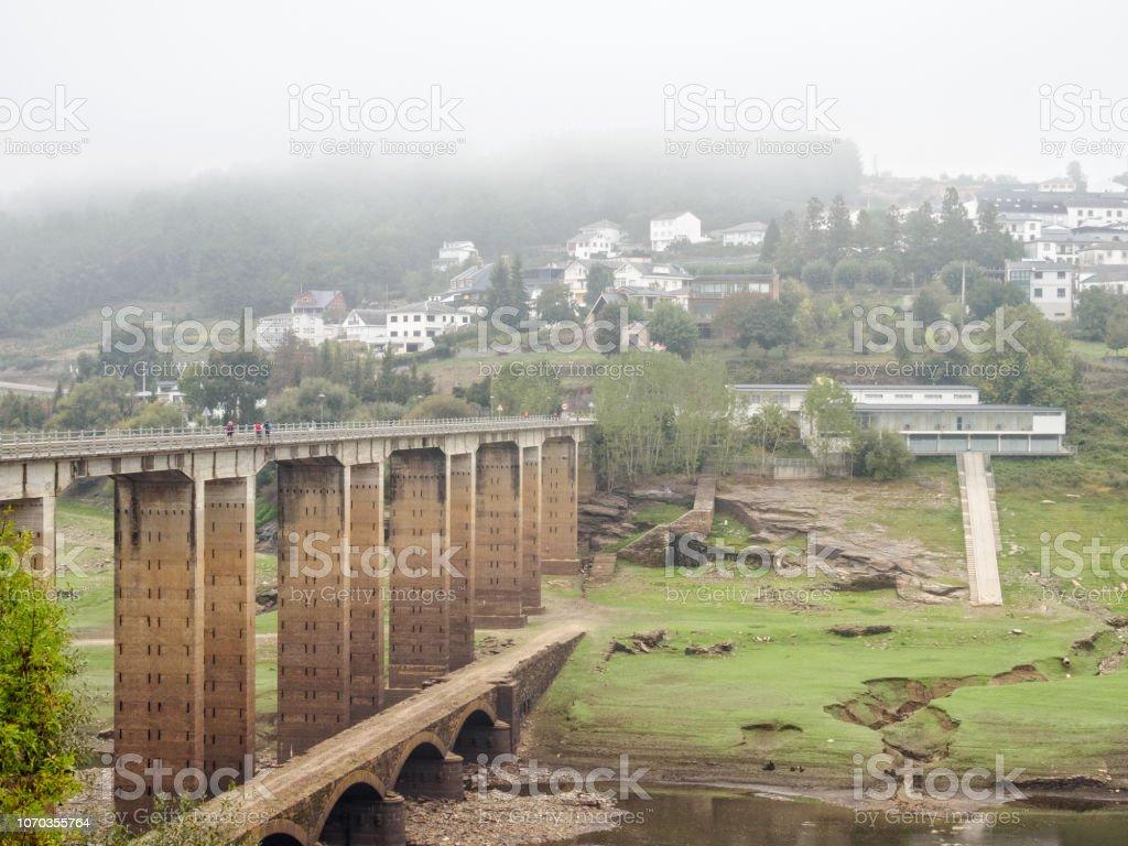 Bridges over the Minho River - Portomarin stock photo