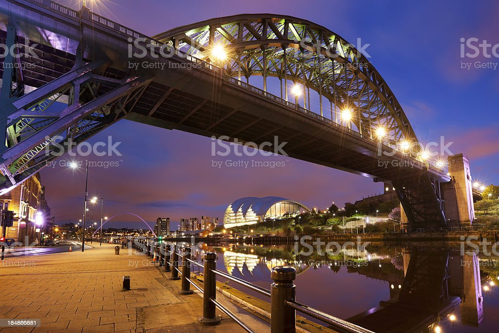Bridges over the river Tyne in Newcastle, England at night royalty-free stock photo