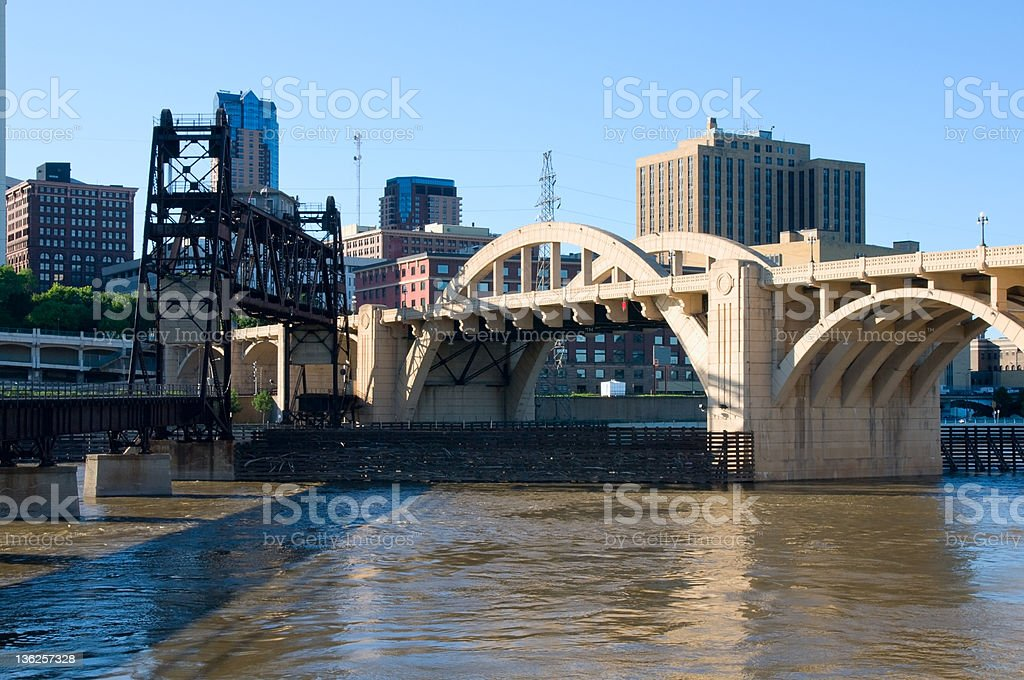 Bridges Spanning Mississippi River in Saint Paul royalty-free stock photo