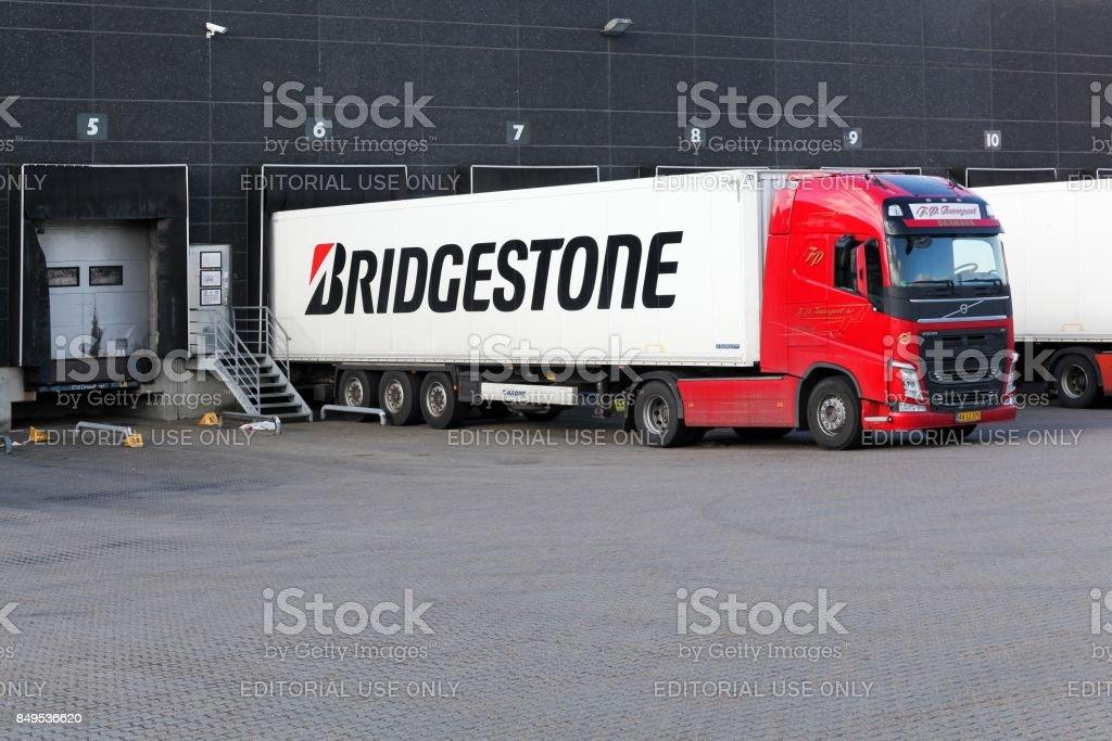 Bridgestone truck at a warehouse stock photo