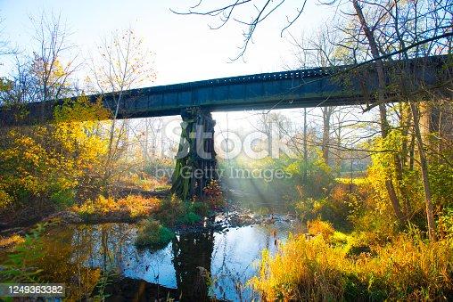 Bridge-Sunrise at RR bridge over Wildcat Creek-Howard County Indiana