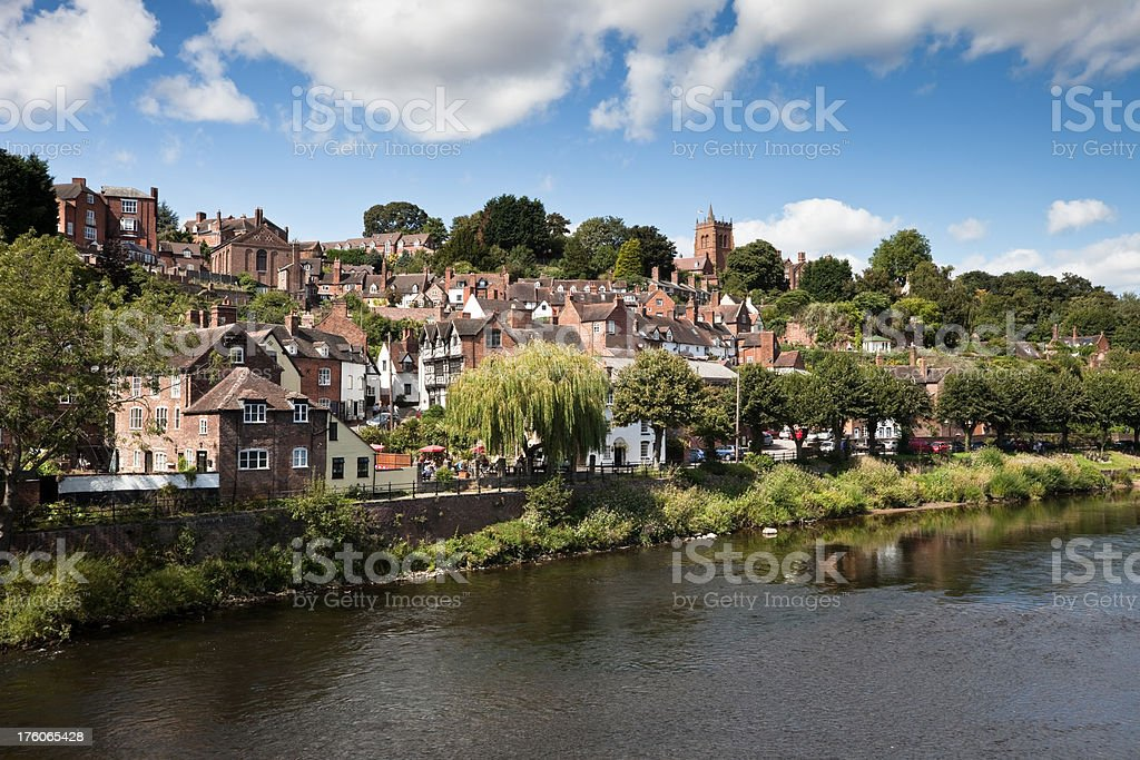 Bridgnorth High Town and River Severn stock photo
