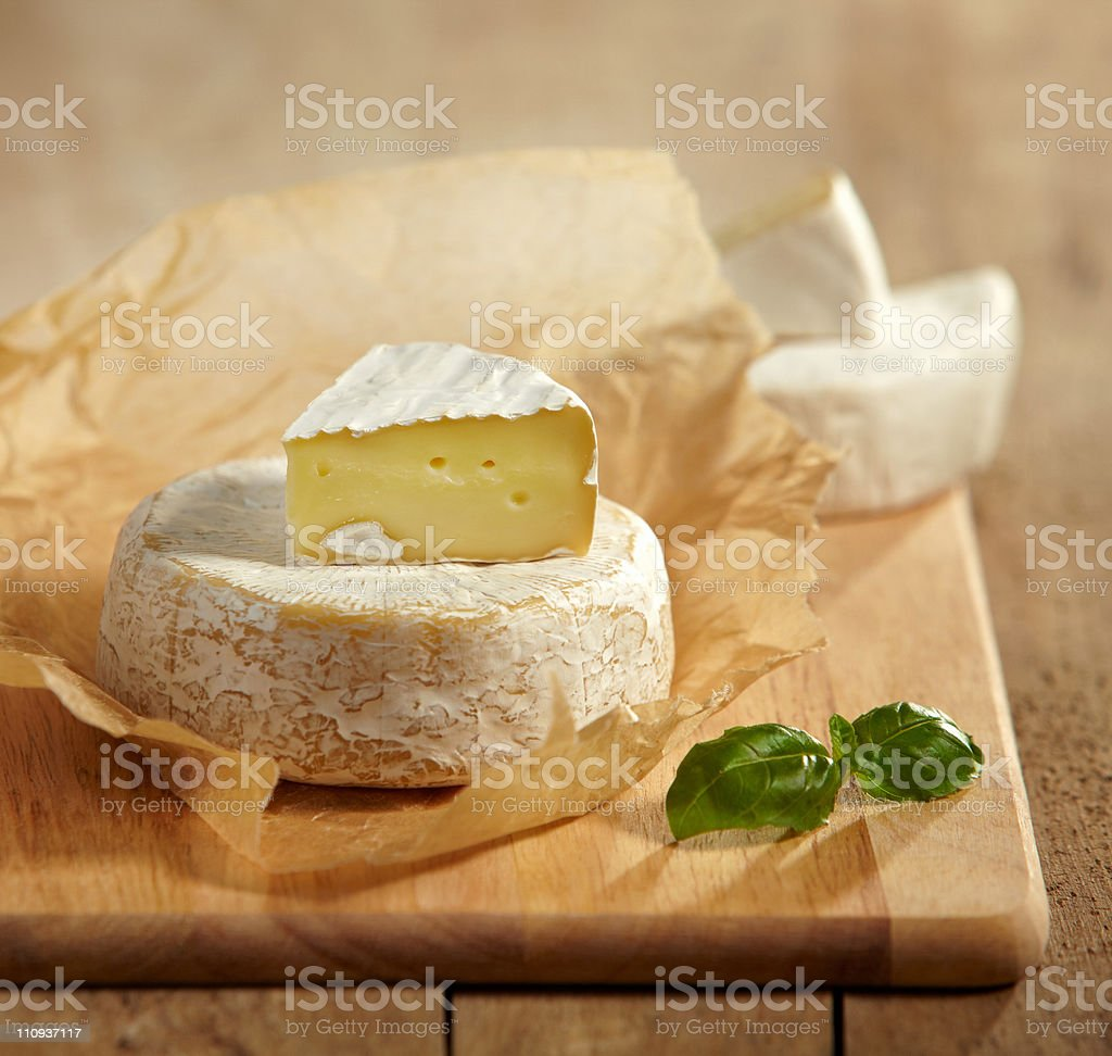 brie and camembert cheese stock photo
