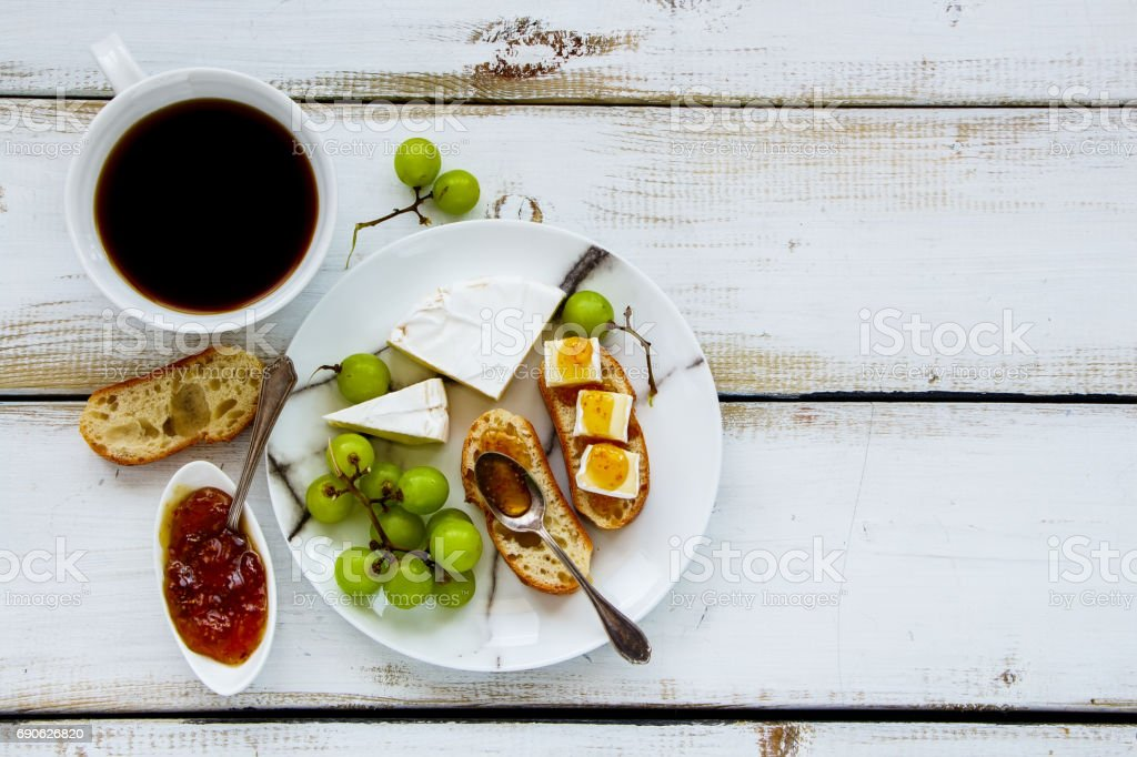 Brie cheese and fig jam sandwiches stock photo