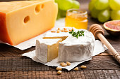 istock Brie or Camembert cheese, slice of cheese 1141120584
