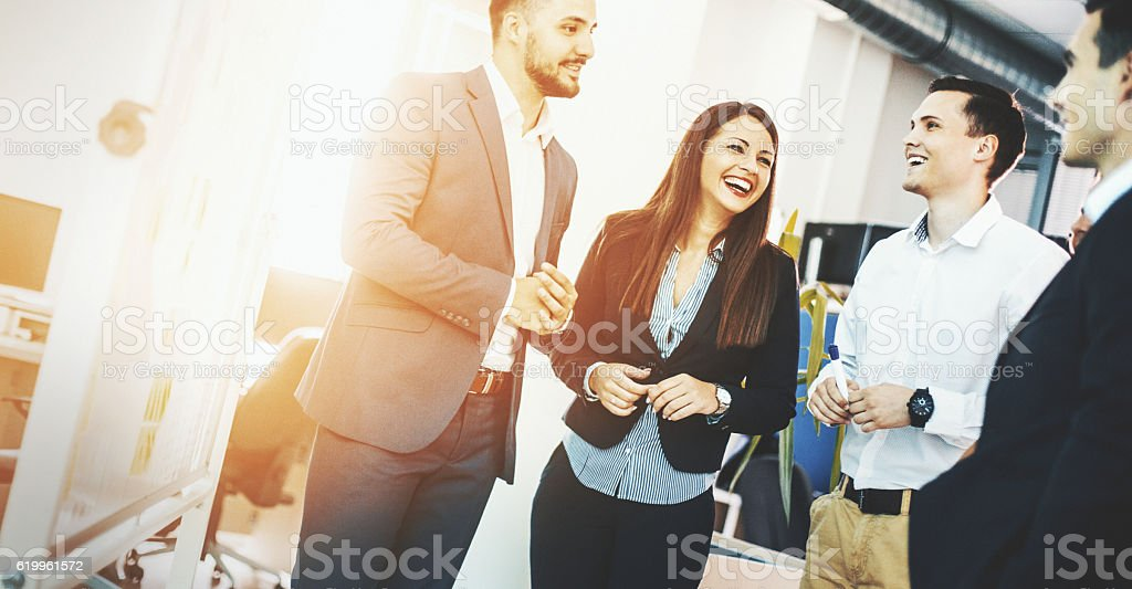 Brief business meeting. stock photo