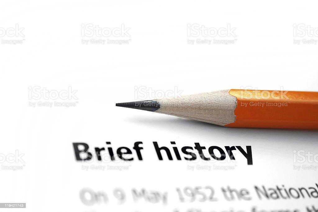 Brief history stock photo