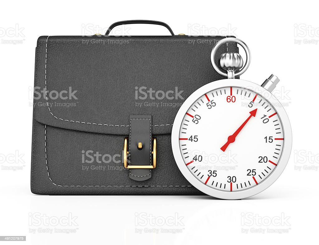 Briefcase and stopwatch royalty-free stock photo