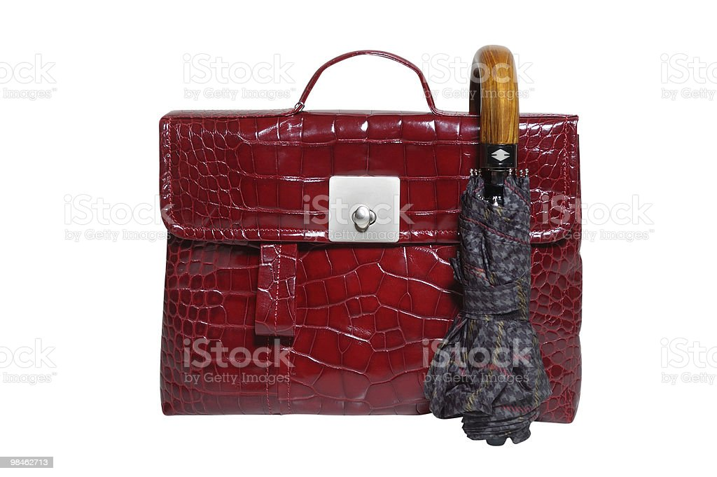 briefcase and umbrella royalty-free stock photo