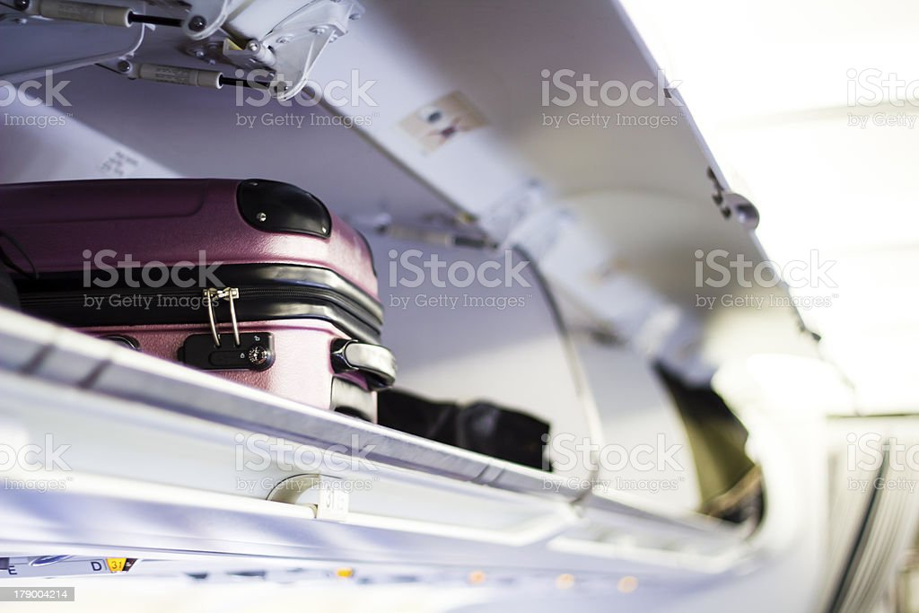 Briefcase in the plane stock photo