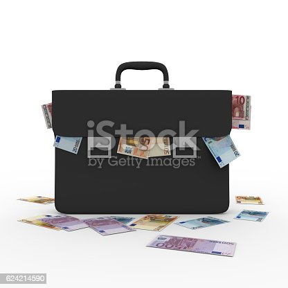 istock Briefcase overflowing with euro banknotes 624214590