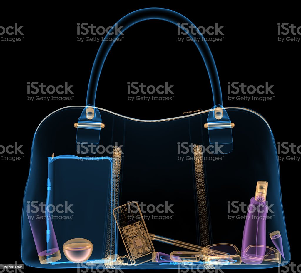 Briefcase under xray on security control. 3D illustration. – Foto