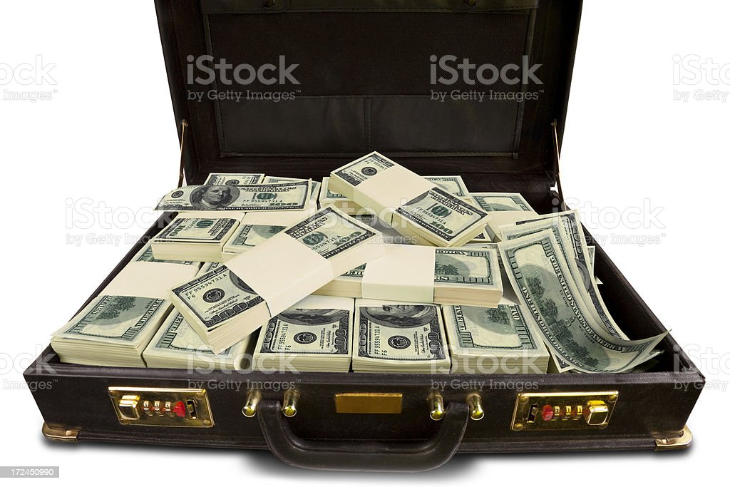 Briefcase with money royalty-free stock photo