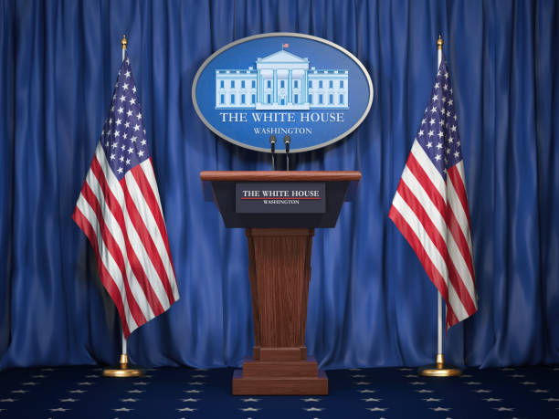 Briefing of president of US United States in White House. Podium speaker tribune with USA flags and sign of White Houise. Politics concept. Briefing of president of US United States in White House. Podium speaker tribune with USA flags and sign of White Houise. Politics concept. 3d illustration american culture stock pictures, royalty-free photos & images