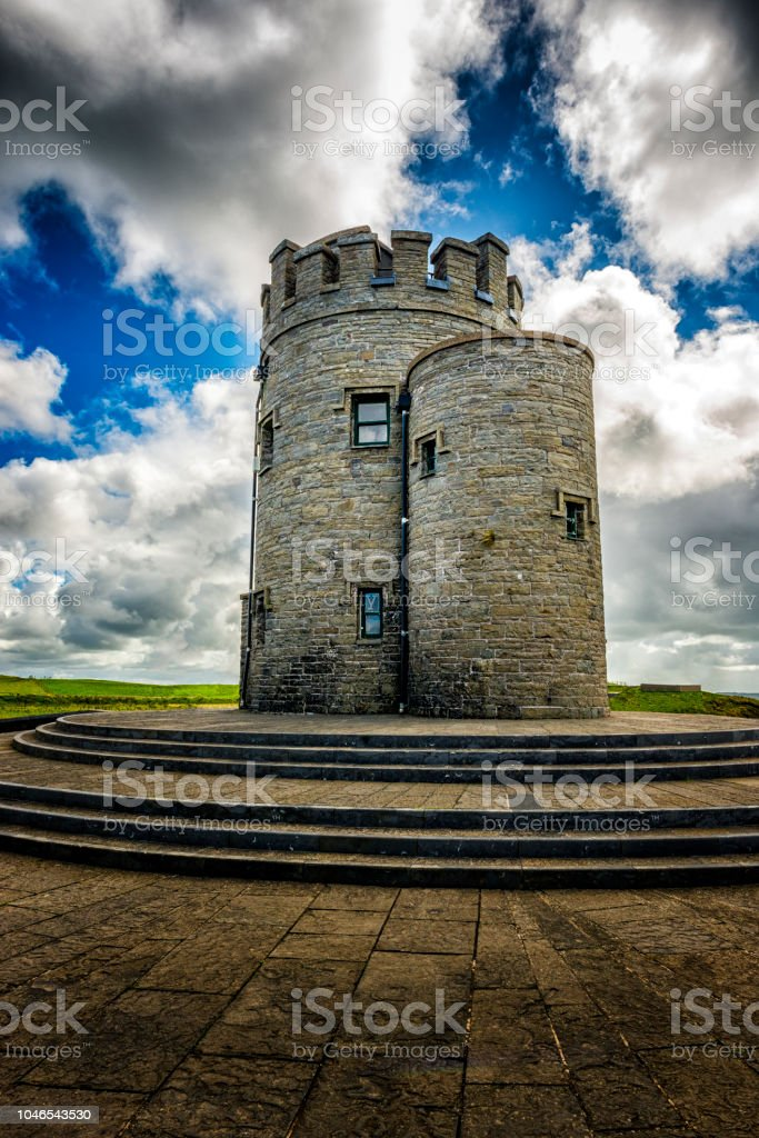 O'Briens Tower at Cliffs of Moher in Ireland stock photo