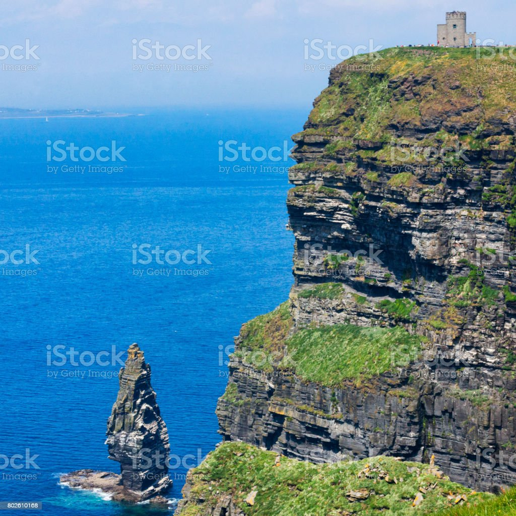 O'Brien's Tower at the Cliffs of Moher in County Clare, Ireland stock photo