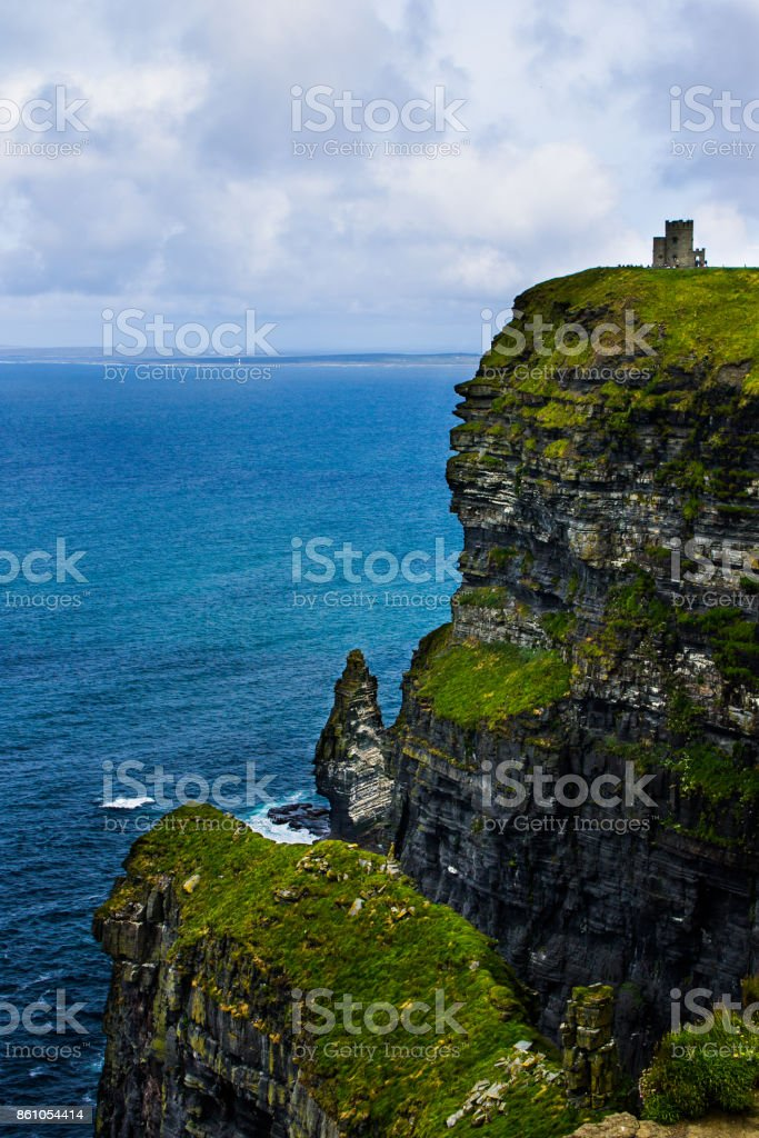 O'Brien's Tower - Cliffs of Moher, Ireland in June stock photo