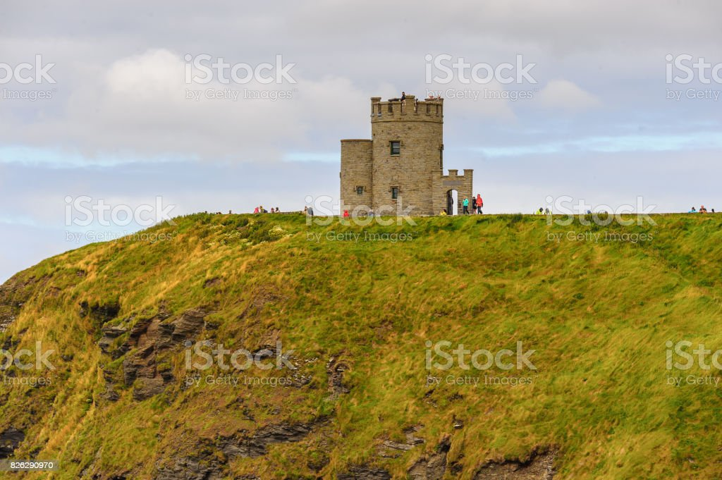O'Brien's Tower on the Cliffs of Moher (Aillte an Mhothair), edge of the Burren region in County Clare, Ireland. Great touristic attraction stock photo